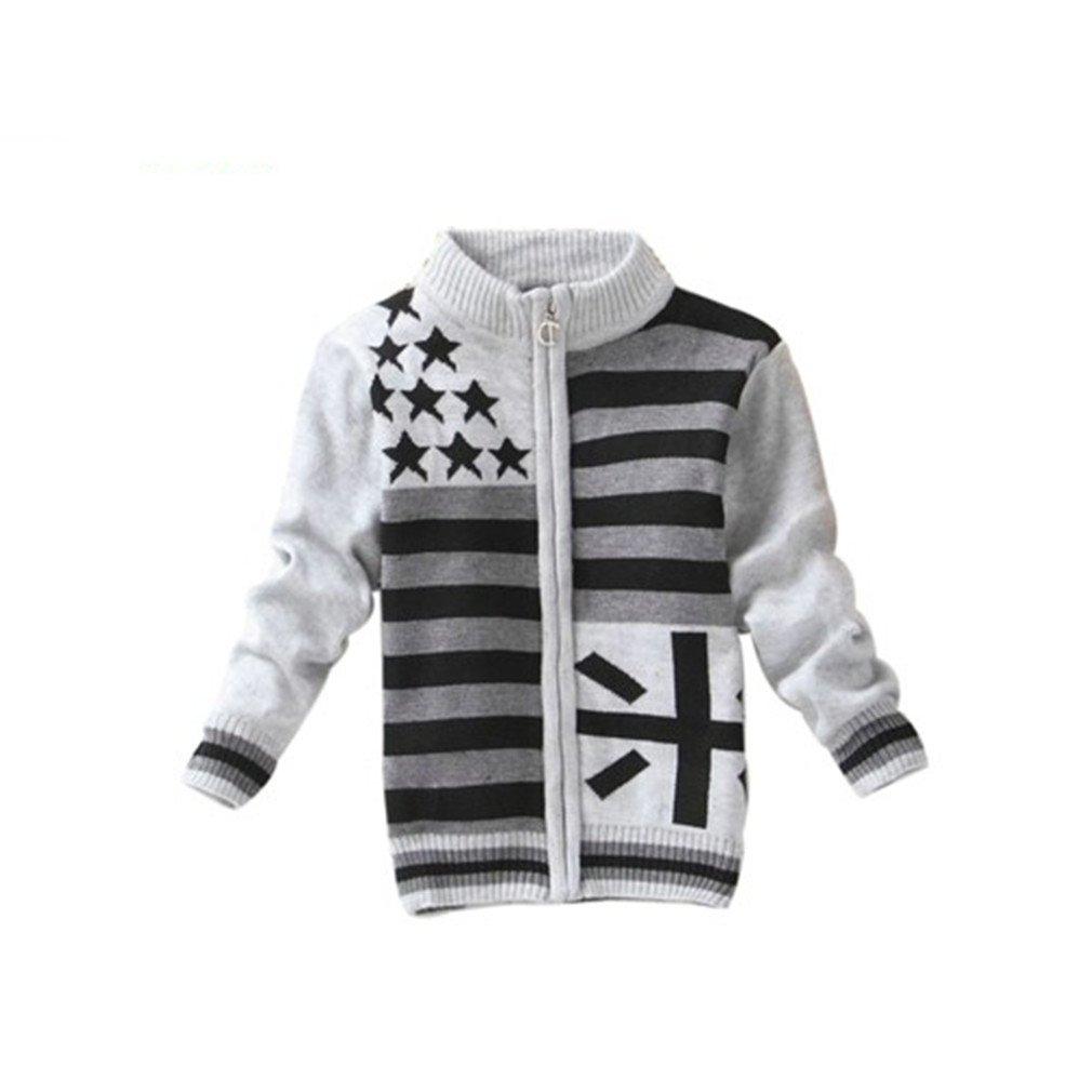 Baby Boys Zipper Sweaters Kids Cardigans Kindergarten Little Kids Sweaters mi Light Gray 3T