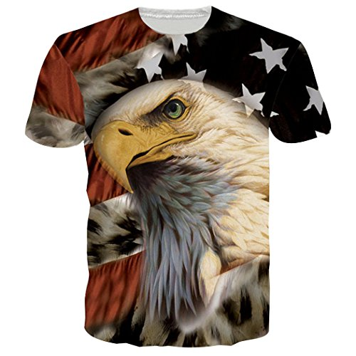 Leapparel Unisex Short Sleeve Tee Patriotic US Flag Print Graphic Cool T Shirts Tees Tops XXL