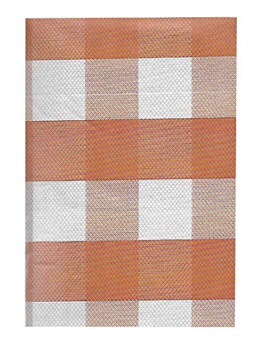 Newbridge Autumn Buffalo Plaid and Thanksgiving Print Vinyl Flannel Backed Tablecloth, Fall Rustic Cottage Check Tablecloth, 52 Inch x 52 Inch Square, Rust by Newbridge