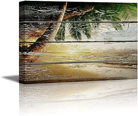 Tropical Beach with Palm Tree on Vintage Wood Background