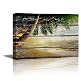 wall26 - Canvas Prints Wall Art - Tropical Beach with Palm Tree on Vintage Wood Background - 32' x 48'