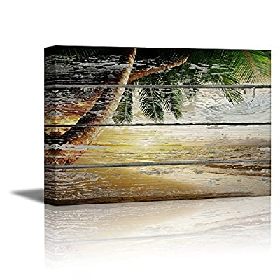 Tropical Beach with Palm Tree on Vintage Wood Background, Quality Creation, Handsome Print