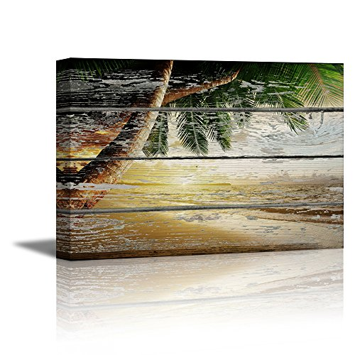 Canvas Print Wall Art - Tropical Beach with Palm Tree on Vintage Wood Background