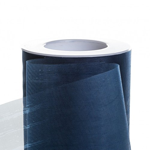 Navy Blue Materials - Koyal Wholesale 25-Yard Sheer Organza Fabric Roll, 6-Inch, Navy Blue