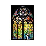 """Alonline Art - Stained Glass Window Church Cathedral Banksy VINYL STICKER DECAL 32""""x20"""" - 81x51cm Artwork For Kitchen Adhesive Vinyl Decal For Home Decor Wall Decor Sticker Vinyl Wall Decal Stickers"""