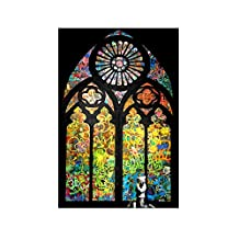 "Alonline Art - Stained Glass Window Church Cathedral Banksy VINYL STICKER DECAL 32""x20"" - 81x51cm For Home Decor Adhesive Vinyl Decal Wall Stickers Artwork Wall Decor Sticker For Kitchen For Bedroom"