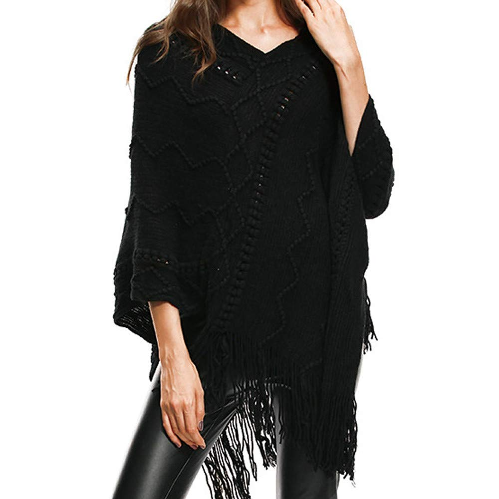 IEason Women top Womens V-Neck Solid Tassels Cloak Plus Size Sweater Easy Blouse Tops