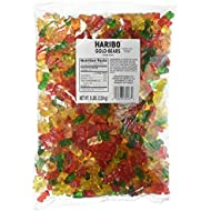 Haribo Gold-Bears Gummi Candy, 5-Pound Bag of Delicious Bears! Ships to You in Either Clear Packaging or the New Gold Updated Packaging. The Same Delicious Gummi Bears in Either Packaging!