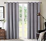 Cheap SeeSaw Home Supersoft Solid Grommet/Eyelet Top Thermal Insulated Eco-friendly Heavy Velvet Window Curtain Drapes, Grey, 50W By 84L inch,1 panel