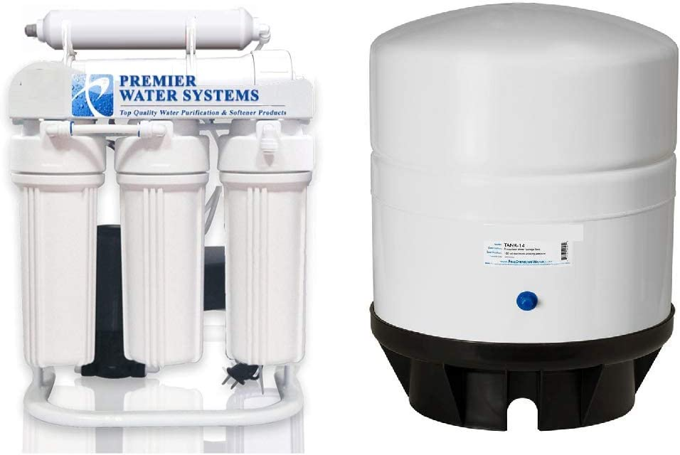 Booster Pump 200 GPD Reverse Osmosis Water Filtration System 14 Gallon RO Water Tank Light Commercial Grade