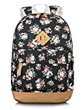 Leaper Canvas School College Backpack for Girls Book Bag Floral Black Deal (Small Image)