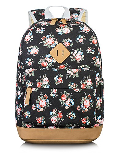 Leaper Floral Laptop Backpacks College Bags School Daypack Travel Bags Black