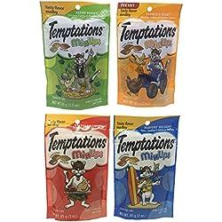 Temptations Mix Ups Cat Treats Bundle Set of 4 Flavors (Catnip Fever, Surfers Delight, Farmers Feast, and Backyard Cookout; 3 oz Each)