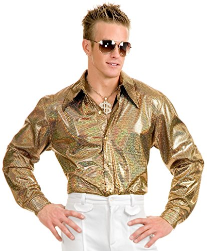 1970 Pimp Costumes (Hologram Disco Shirt Adult Costume - X-Large)