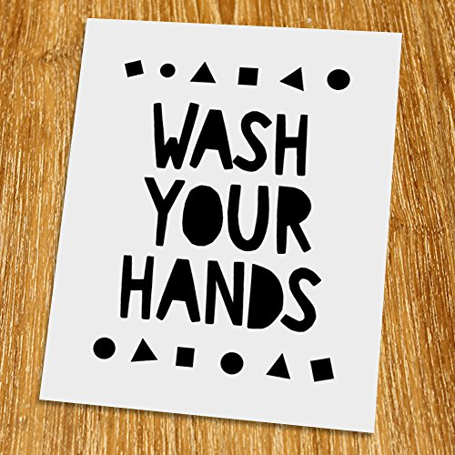 Wash your hands Print (Unframed), Nursery Wall Art, Toilet Wall Decor, Scandinavian, Modern, Playroom Decor, Black and White, 8x10