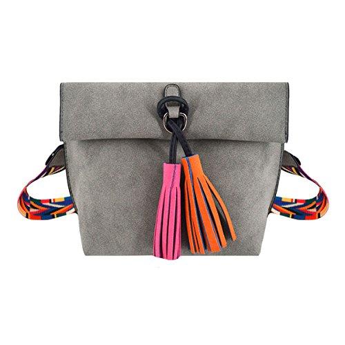 Suede Mini Bag - Felice Women Girls Mini Crossbody Bag Suede like Tassel Hobo Shoulder Bags with Colorful Wide Strap (light grey)