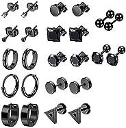 12 Pairs Black Earrings Studs, Stainless Steel CZ Screw Studs Cartilage Earrings Hoops Barbell Ear Plugs Ear P
