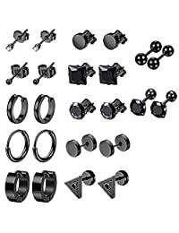 12 Pairs Black Earrings Studs, Stainless Steel CZ Screw Studs Cartilage Earrings Hoops Barbell Ear Plugs Ear Piercing Triangle Screw Studs Earrings Endless Round Huggie Hoop Men's Earrings