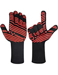 YINENN Heat Resistant Oven Mitts BBQ Grill Cooking Gloves-Grilling Big Green Egg- Fireplace Accessories and Welding,Barbecue Gloves for Smoker and Forearm Protection with 932°F Heat Resistance-13.5''L
