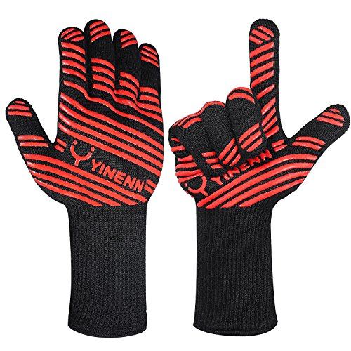 Big Save! YINENN Heat Resistant Oven Mitts Cooking Gloves-BBQ Grilling Big Green Egg- Fireplace Acce...