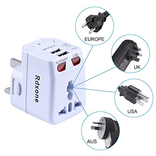 Rdxone Universal World Travel Adapter with 2 USB- Europe, Italy, Ireland, UK, US Plug Adapter- Over 150 Countries& Travel Power Converter Adapter Wall Charger Plug Kit for iPhone, Android (White) Photo #4