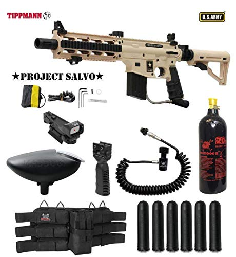 MAddog Tippmann U.S. Army Project Salvo Tactical Red Dot Paintball Gun Package - Tan