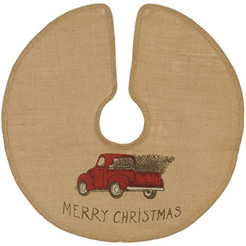 The Country House Christmas Red Truck Burlap Tree Skirt (24