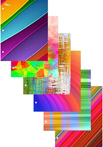 New Generation - Rainbow - 2 Pocket Folder / Portfolio Heavy Duty 3 Hole Punch - Assorted 6 Fashion Designs UV Glossy Laminated - 6 Folders per Pack