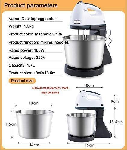 HLJ 2 in 1 Keuken Hand Stand Kitchen Food Mixer Electric Hand Mixer met zwaait met 7 toerenfunctie 1.7L Bowl Egg Hook Egg