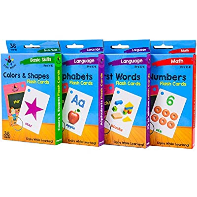 Star Right Flash Cards Set of 4 - Numbers, Alphabets, First Words, Colors & Shapes - Value Pack Flash Cards with Rings for Pre K-K by Star Right