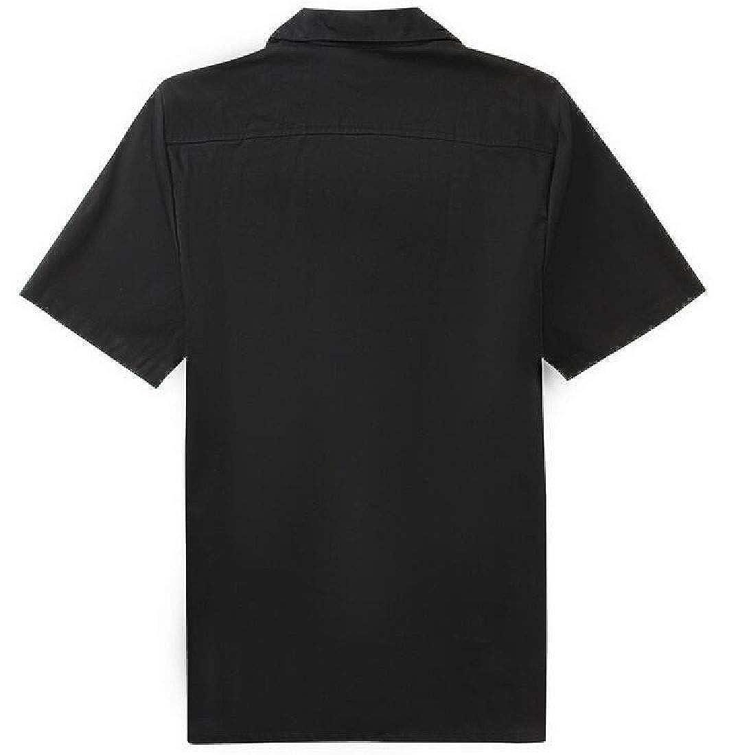 GRMO Men Casual Patchwork Short Sleeve Hip Hop Color Block Button Up Shirt
