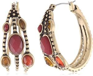 Lucky Brand Multi-Set Stone Hoop Earrings