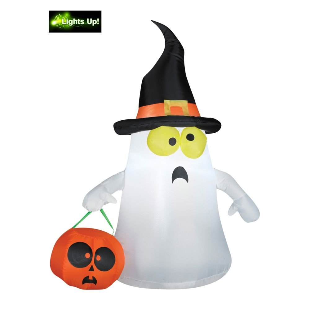 Gemmy Outdoor White Ghost with Witch Hat and Orange Color Pumpkin Inflatable Decoration