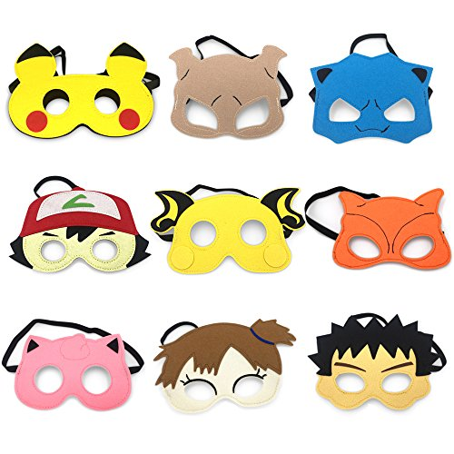 9 Cartoon Hero Party Favors Dress Up Masks Costumes Set of 9 -