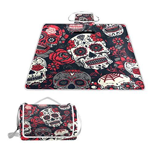 - SLHFPX Sugar Skull Picnic Mat Outdoor Camping Beach Travel pad Blanket Mat Waterproof 57