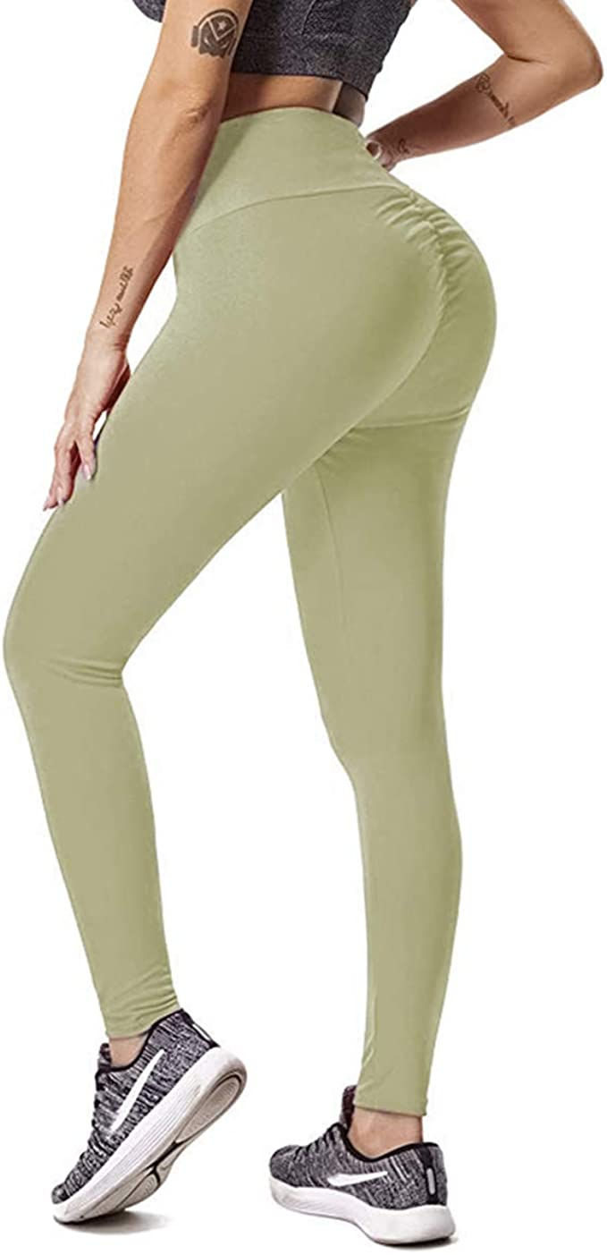 GYMSPT High Waisted Yoga Pants for Women Tummy Control Ruched Butt Lifting Workout Scrunch Leggings Booty Tights