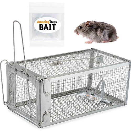 Live Bait Trap (AmazingTraps The Amazing Humane Rat Trap w/Starter Bait - Catches Rats, Mice, Squirrels, Opossums, Moles, Weasels, Gophers, and Other Small Animals)
