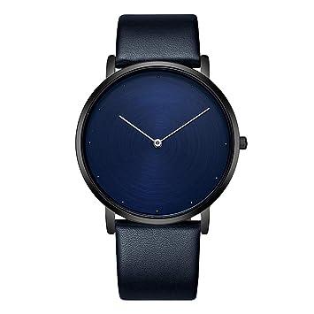 BJ-watch Reloj de Pareja Reloj para Hombre Reloj para Mujer CD con Disco diseño de Disco Correa de Cuero Reloj Impermeable - Reloj para Hombre Azul: ...