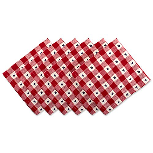 """UPC 738215387882, DII Oversized Cotton Napkin for Independence Day, July 4th Party, Summer BBQ and Outdoor Picnics - 20x20"""", Red White and Blue Star Check, Set of 6"""