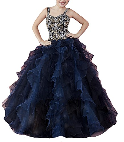 ChenFeL Girls' Gold Sequins Ruffled Ball Gown Kids Pageant Dresses 12 Navy by ChenFeL