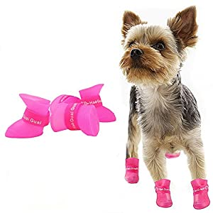 CELLTEK 2018 NEW Waterproof Pet Dog Puppy Rain Snow Boots Shoes Booties Candy Colors Rubber Anti-slip booties for dogs (S(Weight:3~7lb), Rose)