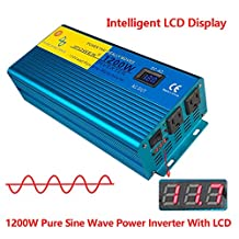 IpoweBingo Car Boat 1200W / 2400W (Peak) Pure Sine Wave Power Inverter Soft Start 12V DC to 110V AC Inverter with LCD DISPLAY