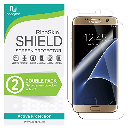 (4-Pack) RinoGear for Samsung Galaxy S7 Edge Screen Protector (Full Body Front/Back) Case Friendly Screen Protector for Samsung Galaxy S7 Edge Accessory Full Coverage Clear Film