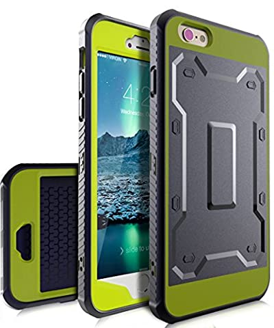 iPhone 6 Plus Case,iPhone 6s Plus Case,TIANLI [Slim] High Impact Protective Dual Layer Hybrid Case With Built In Screen Protector For iPhone 6 Plus,iPhone 6s Plus 5.5 inch,Dark Blue/Lemon Yellow
