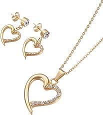 Lady Bling Bling Damen Schmuck-Set Halskette mit Anhänger und Ohrringe aus Edelstahl mit Strass Herz inkl. Etui
