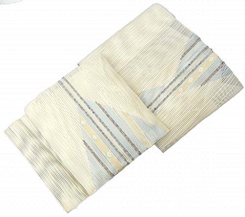 貸す醸造所後世夏帯 名古屋帯 リサイクル 中古 正絹 絽 幾何学文様 白系 jj0247a10