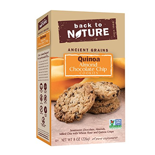 Back to Nature Non GMO, Quinoa Almond Chocolate Chip Cookies, 8 ounce (Choc Chip Crisp)