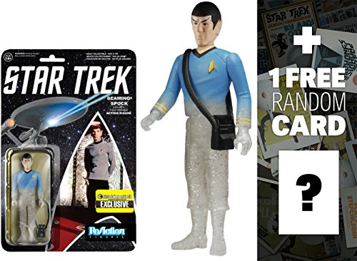 Beaming Spock: Funko x Super 7 x Star Trek ReAction Series + 1 FREE Official Star Trek Trading Card Bundle [65232]