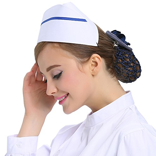 Nursing Striped Costumes (SX Nurse Hat Blue Striped Uniforms Cap Headband Costume Accessories One Stripe)