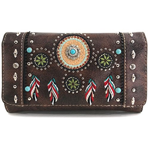 Justin West Tribal Dream Catcher Feather Embroidered Studded CCW Concealed Carry Shoulder Cross Body Handbag Wallet (Brown Wallet ONLY)